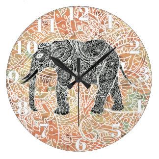 Tribal Paisley Elephant Colorful Henna Pattern Wallclocks
