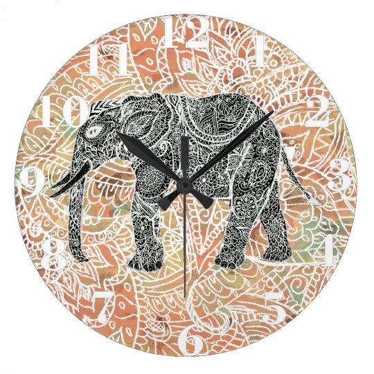 Tribal Henna: Tribal Paisley Elephant Colourful Henna Pattern Large