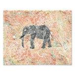 Tribal Paisley Elephant Colourful Henna Pattern Photo Print