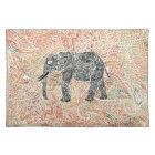 Tribal Paisley Elephant Colourful Henna Pattern Placemat