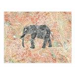Tribal Paisley Elephant Colourful Henna Pattern Postcard