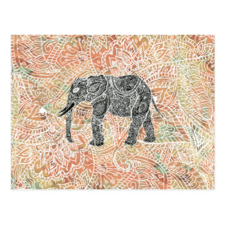 Tribal Paisley Elephant Colourful Henna Pattern Postcard