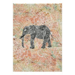 Tribal Paisley Elephant Colourful Henna Pattern Poster