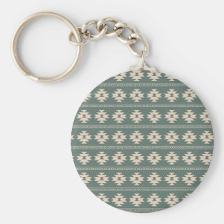 Tribal pattern in pastel colors basic round button key ring