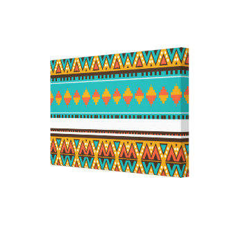 Tribal pattern in retro colors canvas print
