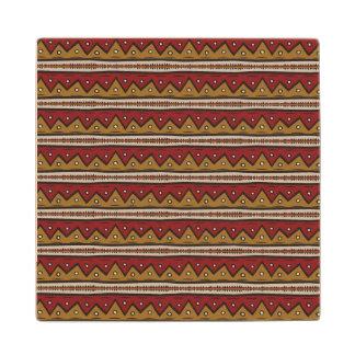 Tribal pattern wood coaster