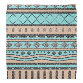 Tribal Peach And Turquoise Aztec Pattern Bandanas