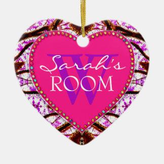 Tribal Pink Door Name Heart Ornament