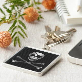 Tribal Pirate Silver & Black Key Ring