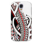 Tribal polynesian tattoo pattern with red accents samsung galaxy s4 covers
