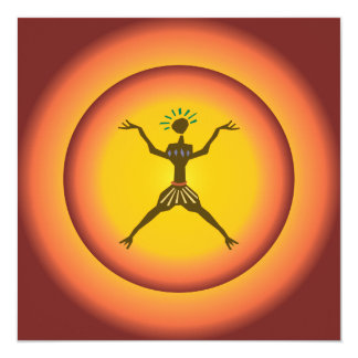 Tribal Primitive Man Glowing Sun Design 13 Cm X 13 Cm Square Invitation Card