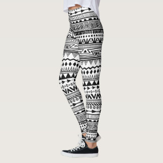 Tribal Print Black and White Aztec Pattern Boho Leggings