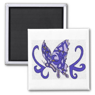 Tribal purple butterfly square magnet