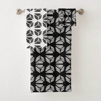 Tribal Pyramid Black and White Alternating Tile Bath Towel Set