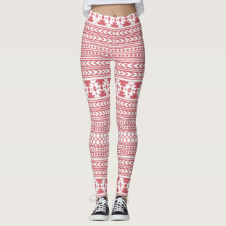 Tribal Red And White Aztec Leggings