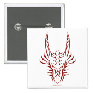 Tribal Red Dragon Head 15 Cm Square Badge