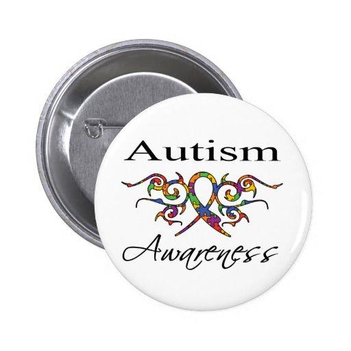 Tribal Ribbon - Autism Awareness Button