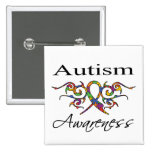 Tribal Ribbon - Autism Awareness Pinback Buttons