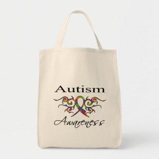 Tribal Ribbon - Autism Awareness Grocery Tote Bag