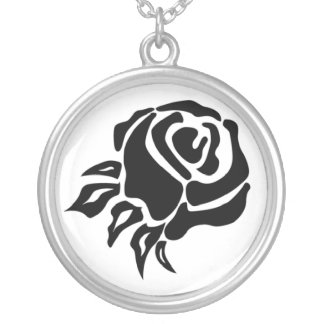 Tribal Rose Round Pendant Necklace