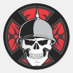 Tribal Round Cross Skull Round Sticker