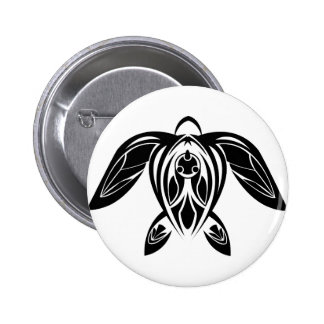 Tribal Sea Turtle BW Button
