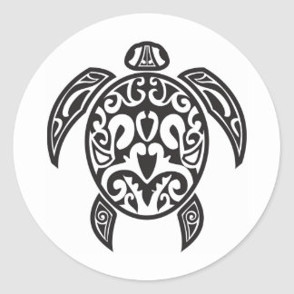 Tribal Sea Turtle Classic Round Sticker