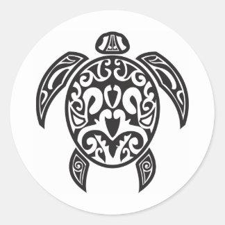 Tribal Sea Turtle Round Sticker