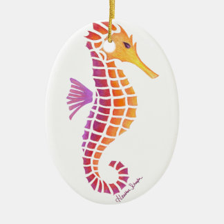 Tribal Seahorse Ceramic Oval Decoration