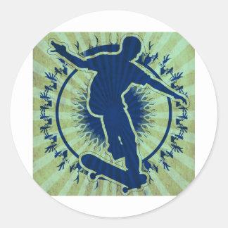 Tribal Skateboarder Classic Round Sticker
