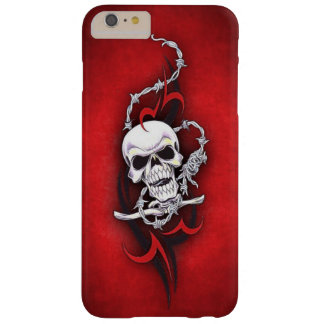 Tribal Skull Barbed Wire Red Grunge Tattoo Barely There iPhone 6 Plus Case