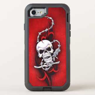 Tribal Skull Barbed Wire Red Grunge Tattoo OtterBox Defender iPhone 8/7 Case