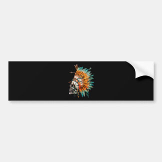 Tribal Skull Chief Skeleton Bumper Sticker