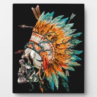 Tribal Skull Chief Skeleton Plaque