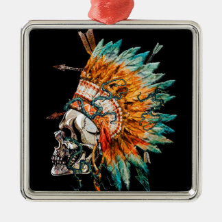 Tribal Skull Chief Skeleton Silver-Colored Square Decoration