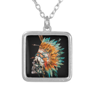 Tribal Skull Chief Skeleton Silver Plated Necklace