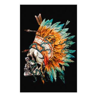 Tribal Skull Chief Skeleton Stationery