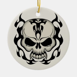 Tribal Skull Double-Sided Ceramic Round Christmas Ornament