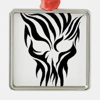 Tribal Skull Silver-Colored Square Decoration