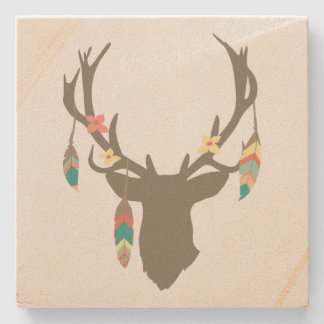 Tribal Stag Head Stone Coaster