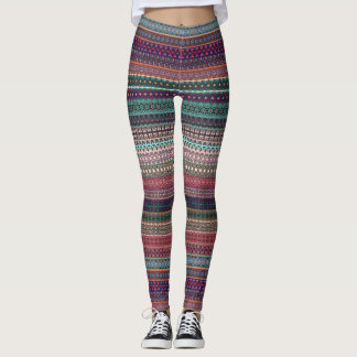 Tribal striped abstract pattern design leggings