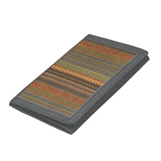 Tribal striped abstract pattern design tri-fold wallets