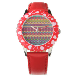 Tribal striped abstract pattern design watch