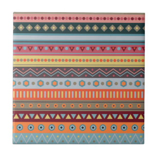 Tribal Stripes Colorful Pattern Ceramic Tile