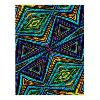 Tribal Style Colorful Geometric Pattern Postcard