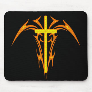TRIBAL STYLE CROSS AND ANGEL MOUSE MAT