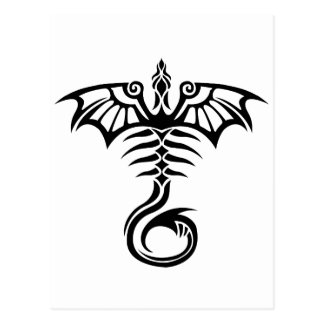 Tribal style tattoo dragon's skeleton post card