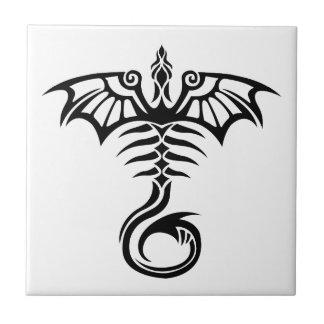 Tribal style tattoo dragon's skeleton small square tile