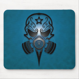Tribal Sugar Skull with Gas Mask (blue) Mousepads