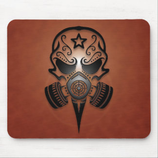Tribal Sugar Skull with Gas Mask (brown) Mouse Pad